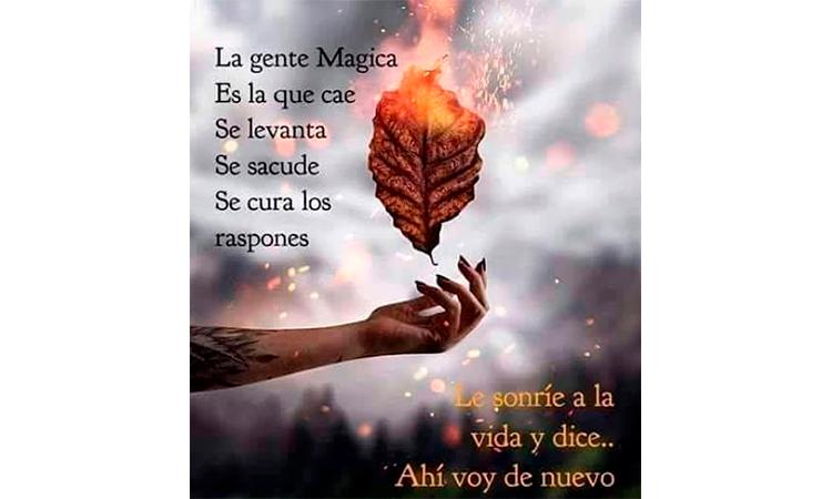 La gente mágica es la que cae, se levanta, se sacude y va de nuevo
